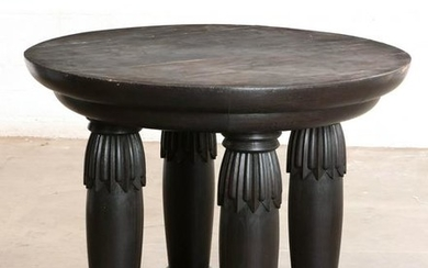 A Neoclassical style ebonized oak center table