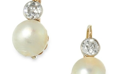 A PAIR OF ANTIQUE NATURAL PEARL AND DIAMOND EARRINGS