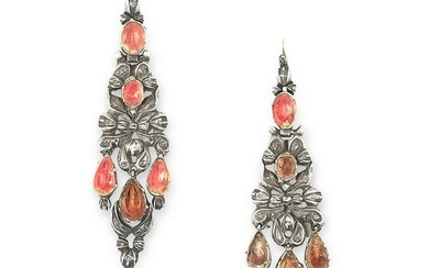 A PAIR OF ANTIQUE TOPAZ AND DIAMOND EARRINGS, SPANISH