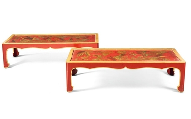 A PAIR OF CHINESE RED AND GILT LACQUER AND JAPANNED COFFEE TABLES, THE LACQUER 18TH/19TH CENTURY, THE FRAMES 20TH CENTURY AND PROBABLY BY MALLET