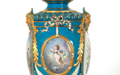 A PAIR OF FRENCH SEVRES-STYLE ORMOLU-MOUNTED SOFT-PASTE VASES, LATE 19TH CENTURY