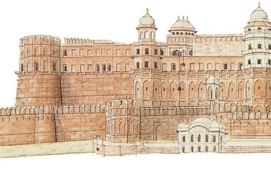 A PANORAMIC VIEW OF THE AGRA FORT, INDIA, COMPANY SCHOOL, 19TH CENTURY