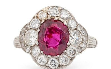 A Platinum, Ruby and Diamond Ring,