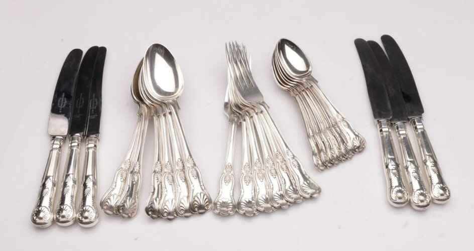 A Queens Pattern Silver Plated Part Cutlery Setting for 6