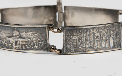 A STERLING SILVER BRACELET. Palestine, c. 1940. Decorated with...