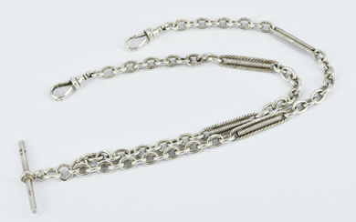 A STERLING SILVER FOB CHAIN
