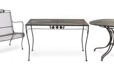 A Suite of Black-Painted Iron Garden Furniture Height