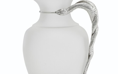 A VICTORIAN SILVER-MOUNTED FROSTED-GLASS EWER, MARK OF JOHN S. HUNT, LONDON, 1855