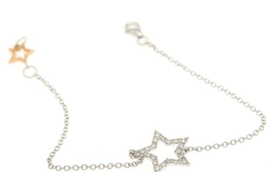 A diamond bracelet set with numerous brilliant-cut diamonds in shape of a star, mounted in 18k white gold and rose gold.