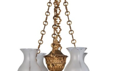 A gilt bronze four light Colza type plafonnier chandelier