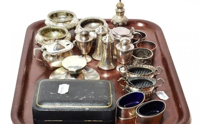 A group of assorted silver condiment and other items, including:...