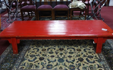 A large 20th century Chinese red lacquered coffee table, H.4...