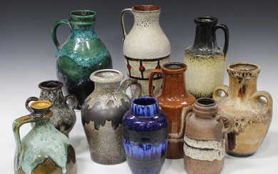 A large mixed group of assorted West German pottery, various factories, including Scheurich and Bay