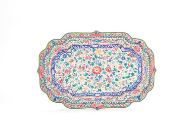 A large painted enamel shaped tray