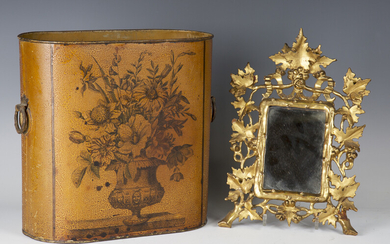 A late 19th century Florentine giltwood wall mirror with a carved leaf and berry frame, 32cm x 23cm