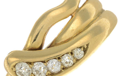 A late Victorian 18ct gold old-cut diamond snake ring.