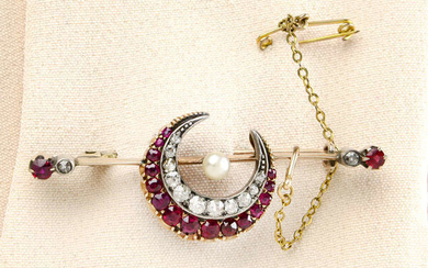 A late Victorian gold, ruby, diamond and pearl crescent brooch.