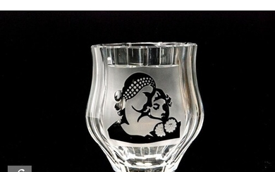 A later 20th Century Val St Lambert clear crystal glass vase...