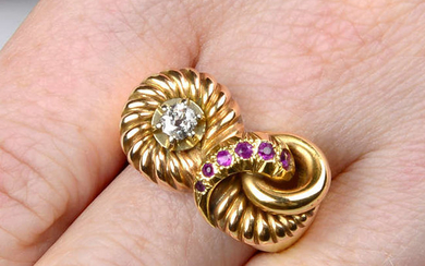 A mid 20th century gold old-cut diamond and ruby dress ring.