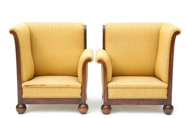 A pair of Art Deco oak corner chairs