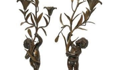 A pair of French gilt bronze and...
