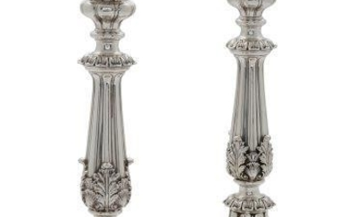 A pair of George VI silver candlesticks,...
