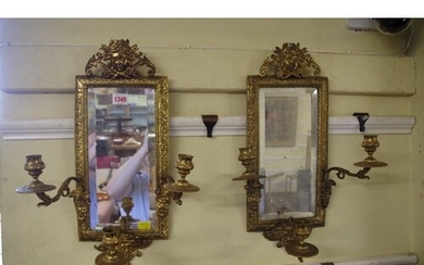 A pair of cast brass three branch girandole mirrors, 48cm hi...