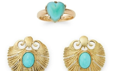 A pair of turquoise stud earrings.