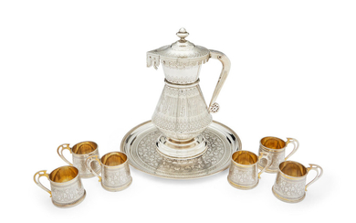 A parcel-gilt liqueur drinking service in the Russian style