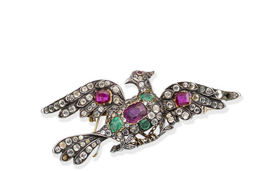 A paste and gem-set bird brooch