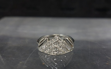 A platinum and diamond fancy shaped cluster ring, marked Pla...