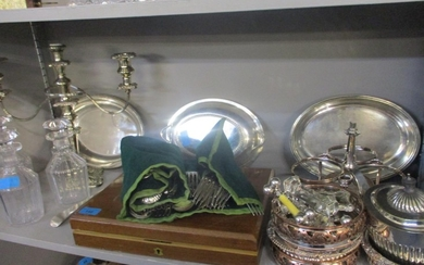 A quantity of silver plate to include a set of ivory pistol ...