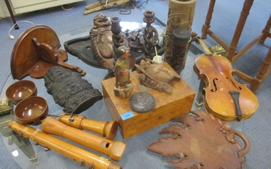 A quantity of treen items to include a pair of mahogany barl...