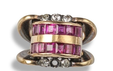 A ruby and diamond Odeonesque ring, the central...