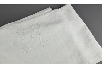 A selection of fine quality embroidered French linen; the lo...