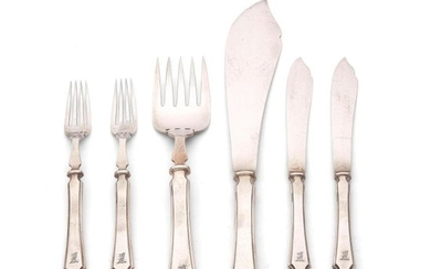 A set of twelve silver Pembury pattern fish knives and forks with a pair of servers by Mappin & Webb