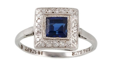 AN ANTIQUE SAPPHIRE AND DIAMOND CLUSTER RING, of square form...