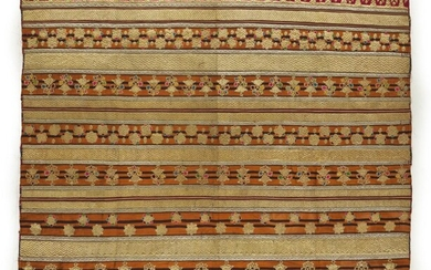AN INDONESIAN GOLD AND SILVER SONGKET AND APPLIQUE CLOTH CIRCA FIRST HALF 20TH CENTURY