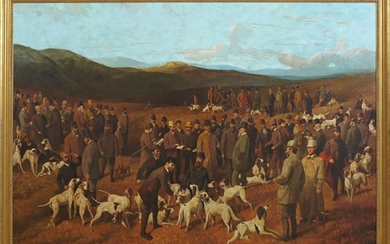 "American School, ""The Hunting Dogs Show,"" 20th c., oil"