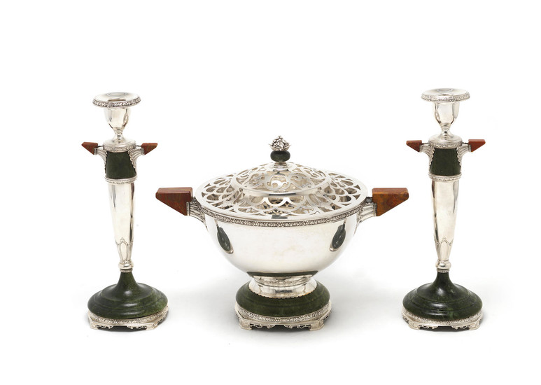 An American silver and hardstone candlestick and rosebowl suite