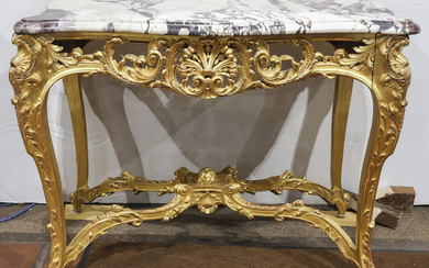 An Italian giltwood carved marble top table circa 1860