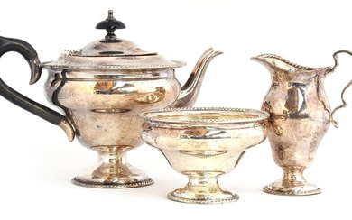 An early 20th century three piece silver tea set by Williams...