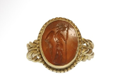 Ancient Roman Gold and Cornelian Intaglio Ring with Helmeted Warrior
