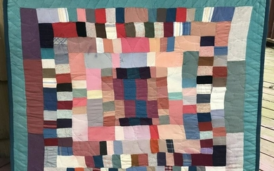 Antique 20th C American Handmade Quilt w Stretcher