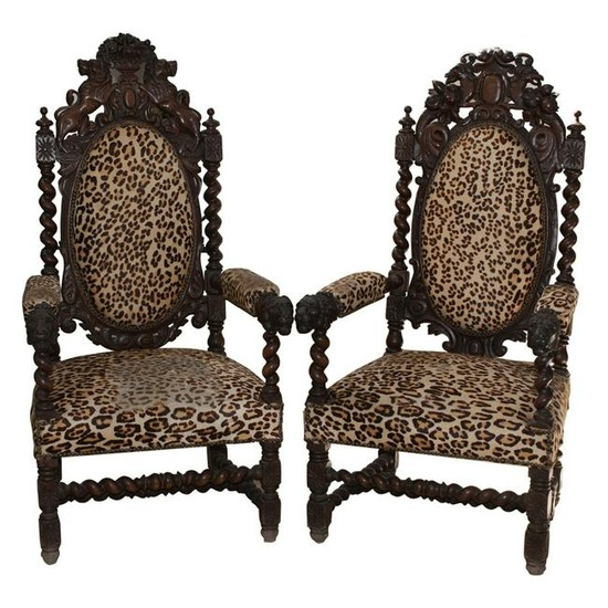 Antique French Wooden Throne Chairs