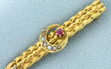 Antique Pink Sapphire and Seed Pearl Pin in 14K Yellow