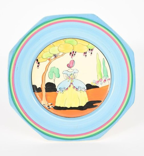 Applique Idyll' a Clarice Cliff Bizarre plate, painted...
