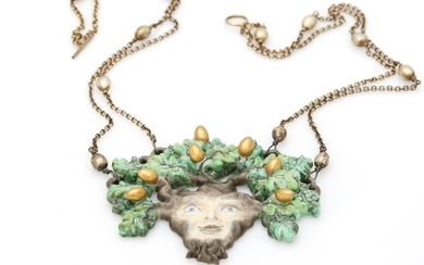 Arje Griegst: A necklace set with a pendant of porcelain, mounted in sterling silver. L. 60 cm. Produced at Royal Copenhagen.