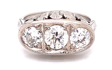 Art Deco Platinum 3 Diamonds Ring
