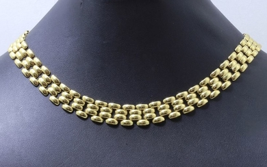 Articulated necklace in gold 750 thousandths, links grain...